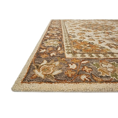 Astoria Grand Watertown Hand-Hooked Wool Ivory/Charcoal Area Rug ; 2'6'' x 7'6''