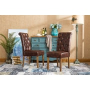 Alcott Hill Elda Tufted Upholstered Dining Chair (Set of 2); Brown