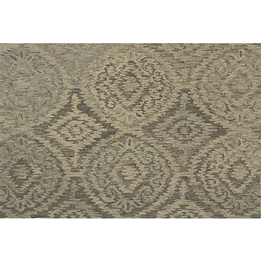 Darby Home Co Cherrelle Hand-Hooked Wool Gray Area Rug ; 5' x 7'6''