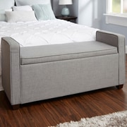 Darby Home Co Chevalier Upholstered Storage Bench; Light Gray