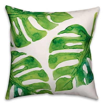 Bay Isle Home Palm Cove Watercolor Palm Leaf Throw Pillow; 16'' x 16''