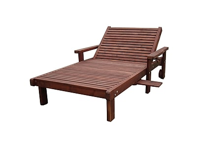 Brayden Studio Thibeault Wood Wide Chaise Lounge w/ Arms; Mahogany