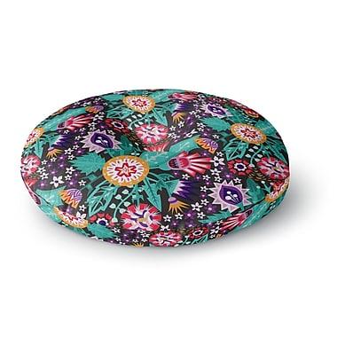 East Urban Home Agnes Schugardt Folk Meadow Round Floor Pillow; 26'' x 26''