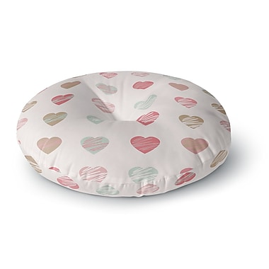 East Urban Home Afe Images Hearts Pattern Round Floor Pillow; 23'' x 23''