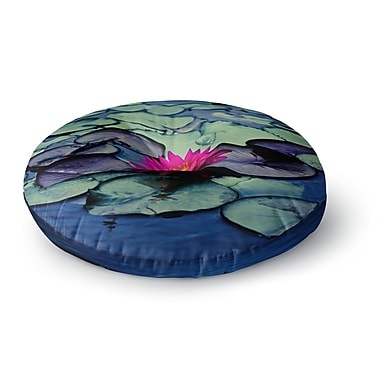 East Urban Home Ann Barnes Twilight Water Lily Round Floor Pillow; 26'' x 26''