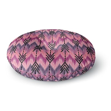 East Urban Home Amanda Lane Indigo Orchid Chevron Arrows Round Floor Pillow; 26'' x 26''