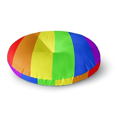 East Urban Home Bruce Stanfield Rainbow Stripes Digital Round Floor Pillow; 26'' x 26''
