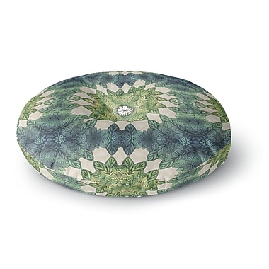 East Urban Home Art Love Passion Forest Leaves Repeat Geometric Round Floor Pillow; 23'' x 23''