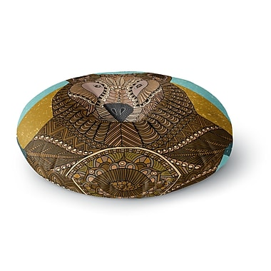 East Urban Home Art Love Passion Bear in Grass Round Floor Pillow; 26'' x 26''
