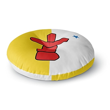 East Urban Home Bruce Stanfield Flag of Nunavut Tribal Round Floor Pillow; 23'' x 23''