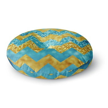 East Urban Home Beth Engel Blueberry Twist Chevron Round Floor Pillow; 26'' x 26''