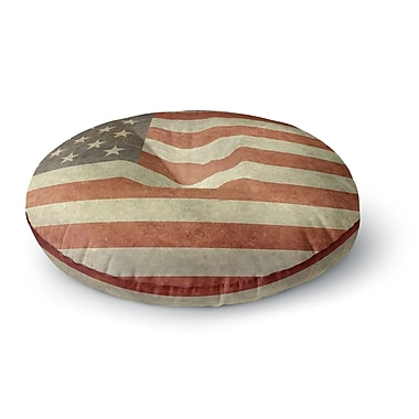 East Urban Home Bruce Stanfield Flag of US Retro Rustic Round Floor Pillow; 26'' x 26''