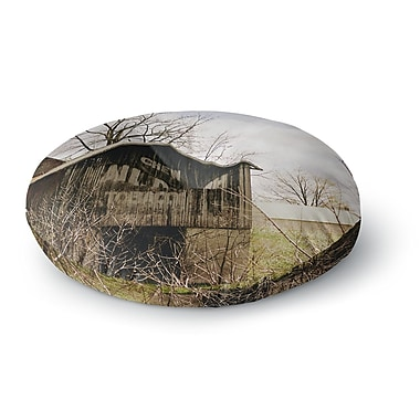 East Urban Home Angie Turner Mail Pouch Barn Wooden House Round Floor Pillow; 23'' x 23''