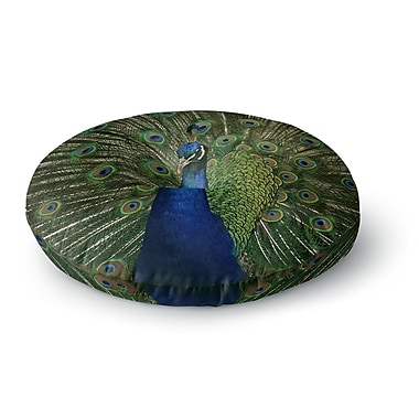 East Urban Home Angie Turner Proud Peacock Animals Round Floor Pillow; 26'' x 26''