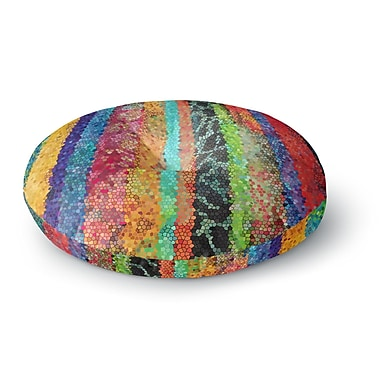 East Urban Home Catherine Holcombe Stained Glass Batik Mosaic Stripe Round Floor Pillow; 23'' x 23''