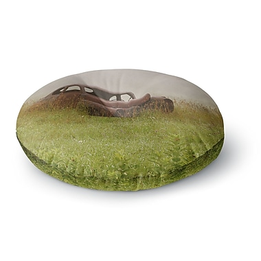 East Urban Home Angie Turner Forgotten Car Grass Round Floor Pillow; 26'' x 26''