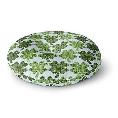 East Urban Home Art Love Passion Lucky You Shamrock Round Floor Pillow; 23'' x 23''