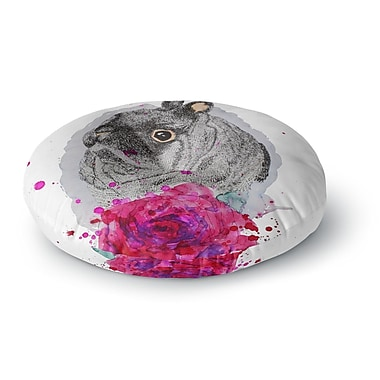 East Urban Home Cecibd Bunny Rose Animals Painting Round Floor Pillow; 23'' x 23''