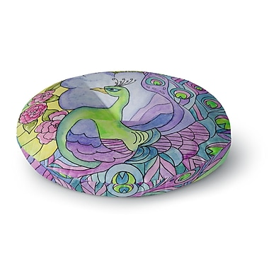 East Urban Home Catherine Holcombe Stained Glass Watercolor Peacock Round Floor Pillow; 23'' x 23''