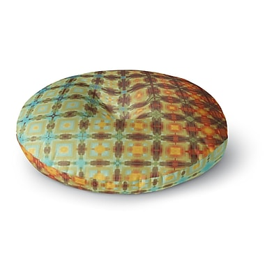 East Urban Home Cvetelina Todorova Colorful Grid Digital Round Floor Pillow; 23'' x 23''