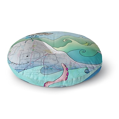 East Urban Home Catherine Holcombe I'm on a Boat Round Floor Pillow; 26'' x 26''