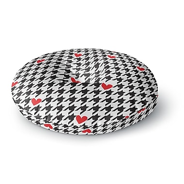East Urban Home Empire Ruhl Spacey Houndstooth Heart Round Floor Pillow; 23'' x 23''