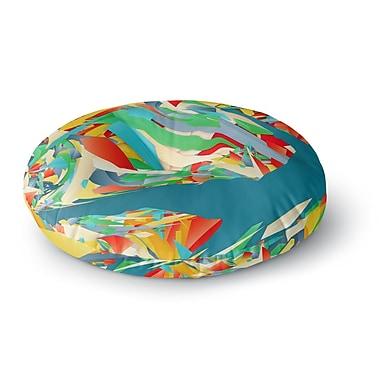 East Urban Home Danny Ivan Soccer Slide Crazy Rainbow Round Floor Pillow; 26'' x 26''