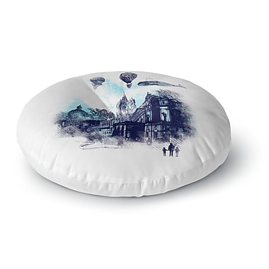East Urban Home Frederic Levy-Hadida Strange Town City Round Floor Pillow; 26'' x 26''