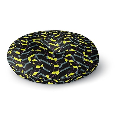 East Urban Home Dawid Roc Waves in Ropes Abstract 1 Round Floor Pillow; 23'' x 23''