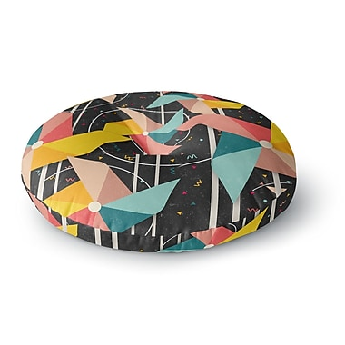 East Urban Home Danny Ivan Colorful Pinwheels Abstract Round Floor Pillow; 23'' x 23''