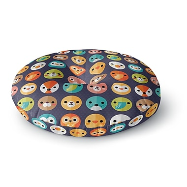 East Urban Home Daisy Beatrice Smiley Faces Repeat Animal Pattern Round Floor Pillow; 23'' x 23''