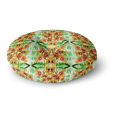 East Urban Home Dawid Roc Tropical Flowers Palm Leaves Pattern Round Floor Pillow; 23'' x 23''