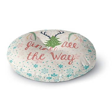 East Urban Home Famenxt Jingle All the Way Holiday Digital Round Floor Pillow; 26'' x 26''