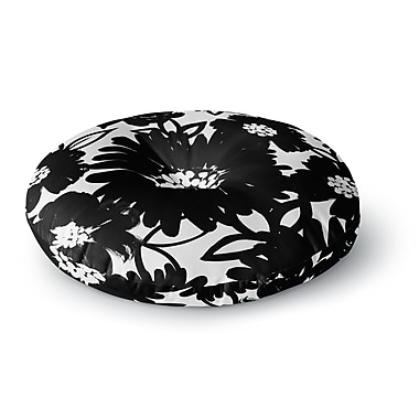 East Urban Home Emine Ortega Monochromatic Blooms Round Floor Pillow; 23'' x 23''
