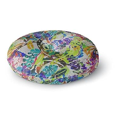 East Urban Home Gabriela Fuente Flow Rainbow Floral Round Floor Pillow; 26'' x 26''