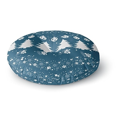 East Urban Home Famenxt Merry Merry Christmas Holiday Illustration Round Floor Pillow; 26'' x 26''