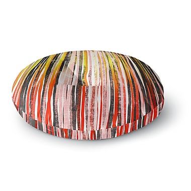 East Urban Home Frederic Levy-Hadida Stripes Olive Illustration Round Floor Pillow; 23'' x 23''