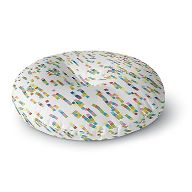 East Urban Home Frederic Levy-Hadida Squares Salad Digital Round Floor Pillow; 23'' x 23''