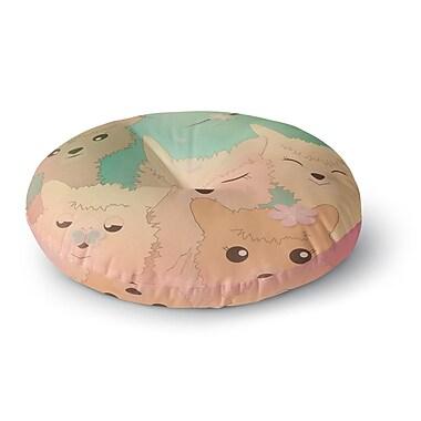 East Urban Home Graphic Tabby Spring Alpacas Animals Round Floor Pillow; 23'' x 23''