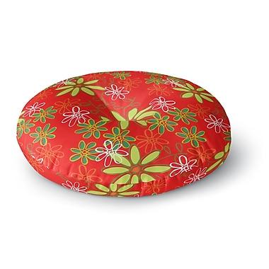 East Urban Home Holly Helgeson Daisy Mae Floral Round Floor Pillow; 23'' x 23''