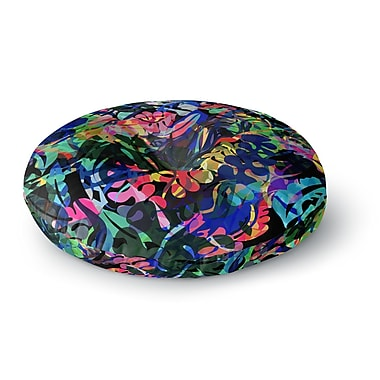 East Urban Home Gabriela Fuente Flora Splash Dark Rainbow Round Floor Pillow; 26'' x 26''
