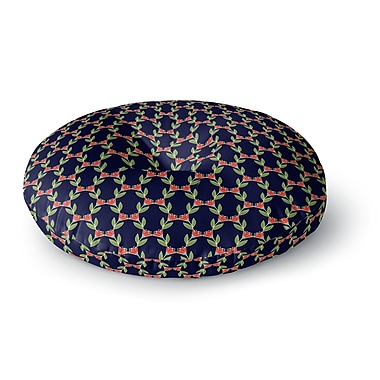 East Urban Home Holly Helgeson Midnight Vine Pattern Round Floor Pillow; 26'' x 26''