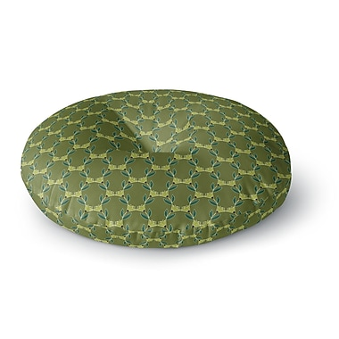 East Urban Home Holly Helgeson Flora Vine Olive Round Floor Pillow; 26'' x 26''