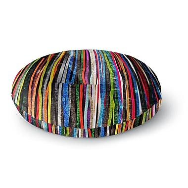 East Urban Home Frederic Levy-Hadida Fancy Stripes Dark Round Floor Pillow; 26'' x 26''