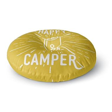 East Urban Home Jackie Rose Happy Camper Typography Round Floor Pillow; 26'' x 26''