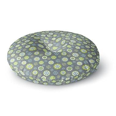 East Urban Home Julie Hamilton Snowflake Slate Round Floor Pillow; 23'' x 23''