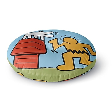 East Urban Home Jared Yamahata Haring Schulz Illustration Pop Art Round Floor Pillow; 23'' x 23''