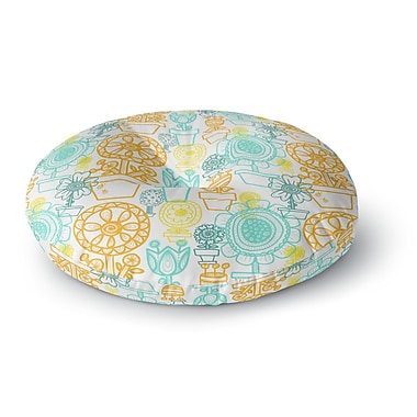 East Urban Home Jane Smith Potted Florals Round Floor Pillow; 26'' x 26''