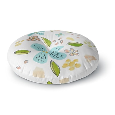 East Urban Home Jennifer Rizzo Happy Flower Dance Floral Round Floor Pillow; 23'' x 23''