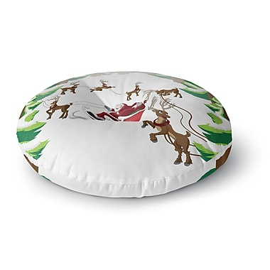 East Urban Home Forest Sleigh Scene Holiday Illustration Round Floor Pillow; 23'' x 23''
